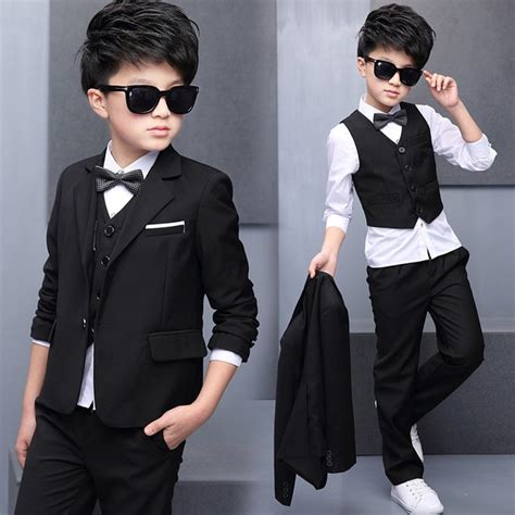 boys suit childrens black dress formal dress