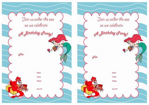 printable mermaid invitations mermaid birthday invitations images