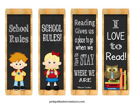 printable school bookmarks freebie back to school book marks pink polka dot creations
