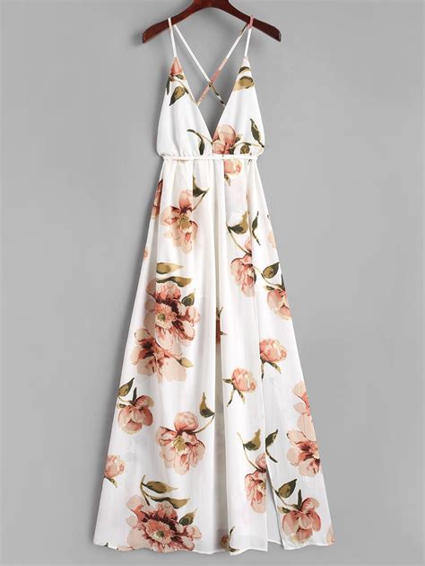 41345 Flower With Slit S M L Dress 2018 criss cross slit floral maxi dress white s in maxi