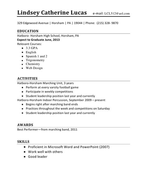 high school student resume exles first job would be a