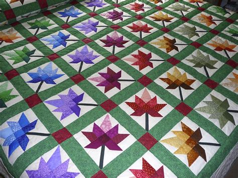 Handmade Quilts Patterns - maple leaf autumn splendour quilt amish spirit handmade