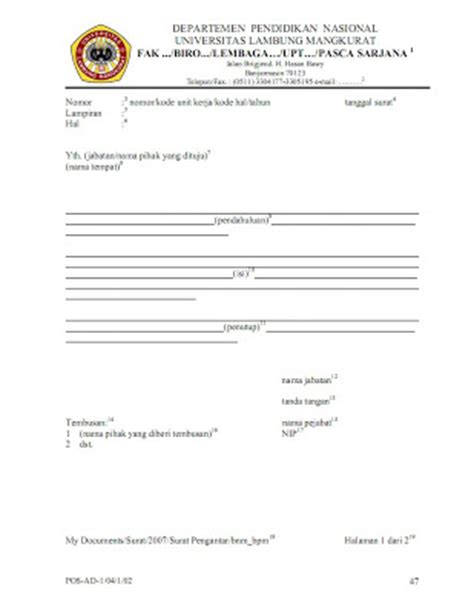 kesekretariatan surat pengantar