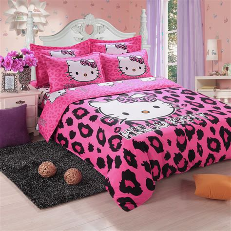 brand logo hello kitty bedding set children cotton bed