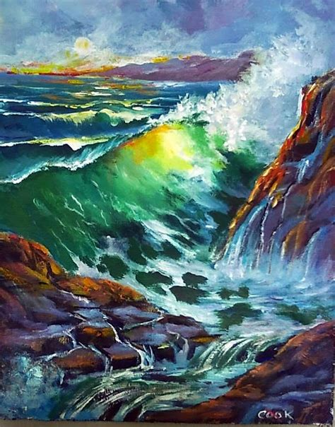 acrylic painting waves breakers and rocks was one of two paintngs i taught in the
