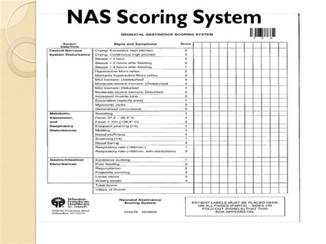 nas score feeding and nutrition concerns of infants withdrawing from
