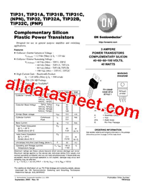 transistor tip31c datasheet tip31c datasheet pdf on semiconductor