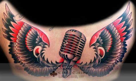 microphone wings tattoo wakako wings music microphone