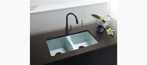 undermount kitchen sink with faucet holes standard plumbing supply product kohler k 5873 5u 0 deerfield undermount double bowl kitchen