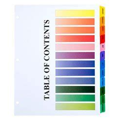avery 15 tab table of contents color template amazon com skilcraft table of contents color tab