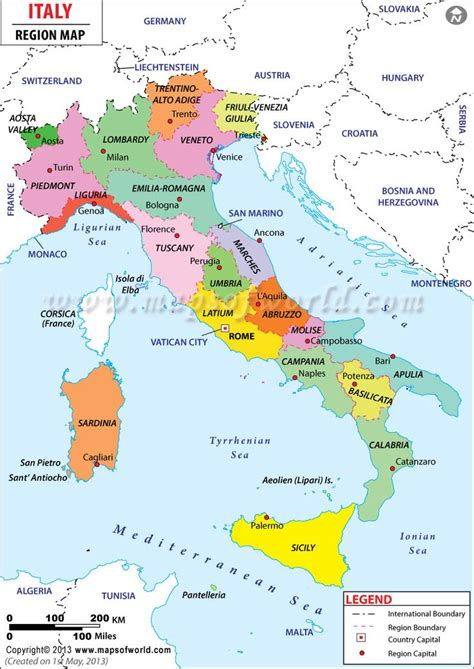 Search Italy Italy Is Split Up Into 20 Regions This Map Shows Each Region And It S Capital City