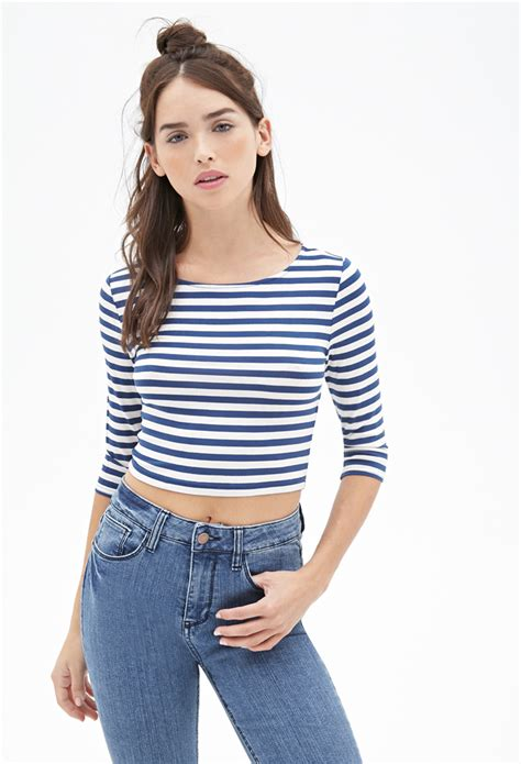 Striped Crinckled Top Blue lyst forever 21 striped crop top in blue