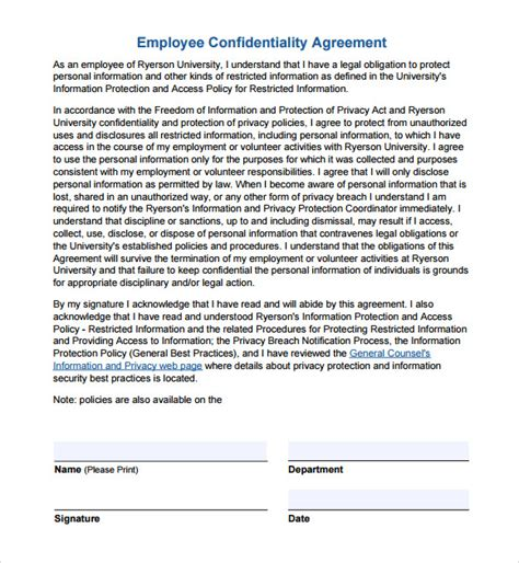 employment confidentiality agreement template confidentiality agreement template 7 free