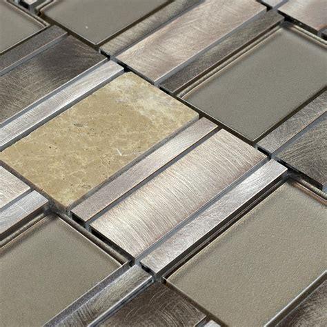 Stainless Steel Kitchen Backsplash natual stone mosaic tiles brushed stainless steel amp marble