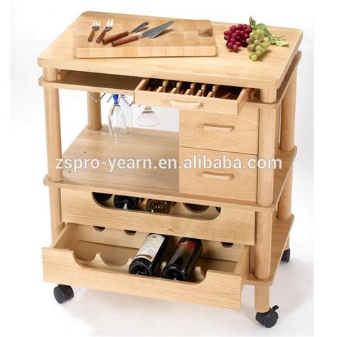 custom wooden kitchen service trolley cart with 3 tier 2