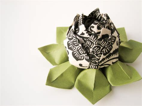 Origami Black Lotus - sale origami lotus flower decoration or favor black