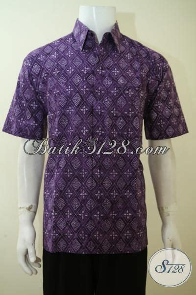 Ld Cap Smok Baju Batik Baju Batik Kantor baju batik cowok warna ungu motif modern pakaian batik