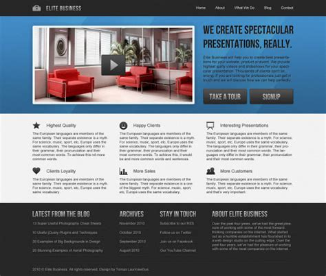 Business Web Design Homepage | 36 high quality templates tutorials to design business