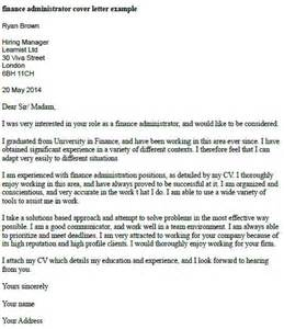 finance administrator cover letter exle finance cover letter exle and