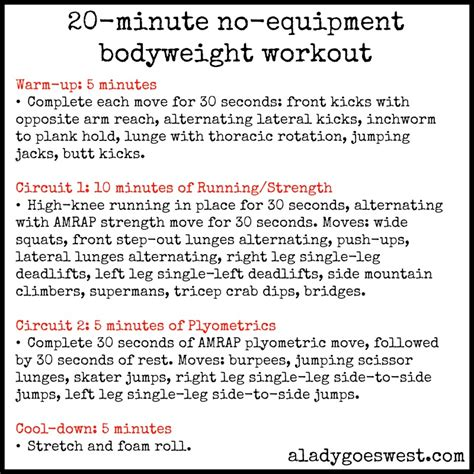 20 minute crossfit workout no equipment workout schedule