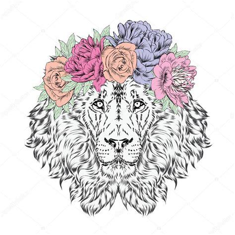 lion blumen le 243 n con una corona de flores ilustraci 243 n de vector