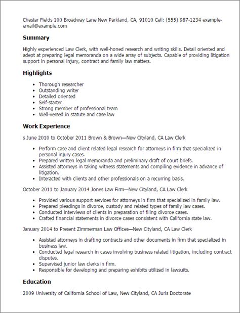 Judicial Clerk Resume by Professional Clerk Templates To Showcase Your Talent