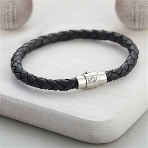 boy s leather personalised clasp bracelet by
