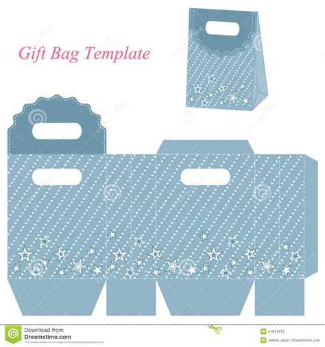 Gift Bag Cards For Baby Template by Blue Gift Bag Template With Stock Vector