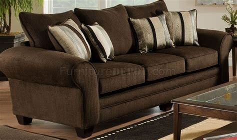 plush loveseat brown fabric casual sofa loveseat set w plush flared arms