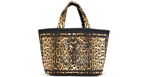 Roberto Cavalli Tote by Roberto Cavalli Leopard Print Tote Bag In Yellow Black