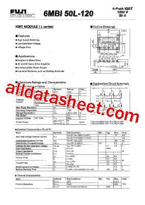 Igbt 2mbi 50l 120 Fuji Electric 6mbi50l 120 データシート pdf fuji electric
