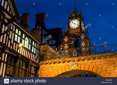nights hshire the eastgate clock on the city walls at