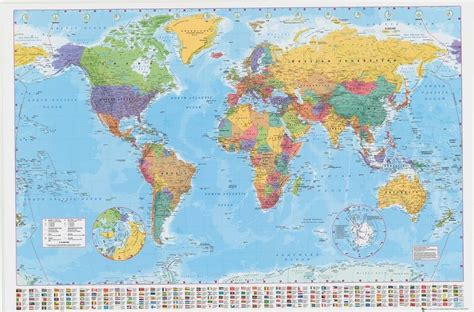 map world laminated laminated world map poster 61x91cm with country flags
