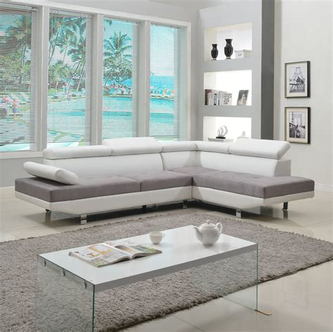 White Leather Living Room Chair - 2 modern contemporary white faux leather sectional