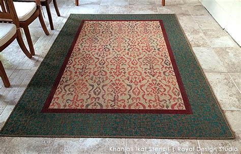 Rug Hack by Rug Hack Stenciling An Ikat Carpet Paint