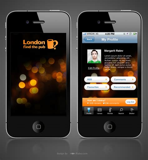 design photo app london find the pub iphone app design ralev com brand