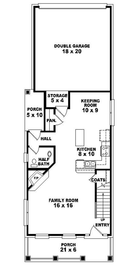 narrow floor plans 653437 2 story traditional narrow lot house plan