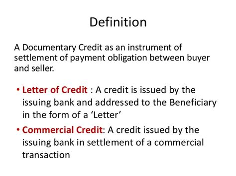 Letter Of Credit Number Meaning documentary credit