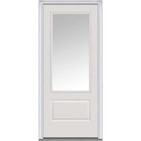 2 4 Exterior Door Mmi Door 36 In X 80 In Clear Right 3 4 Lite 1 Panel Classic Primed Fiberglass Smooth