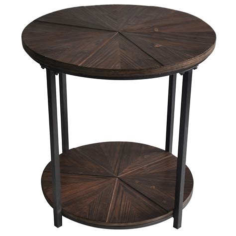 rustic wood accent table jackson round metal and rustic wood end table