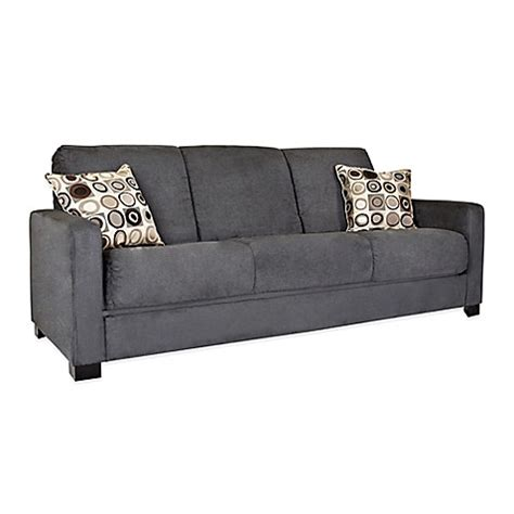 grey microfiber sofa handy living convert a couch 174 in grey microfiber www