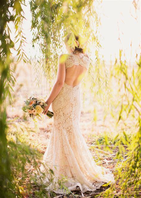 Lace Keyhole Back Wedding Dress