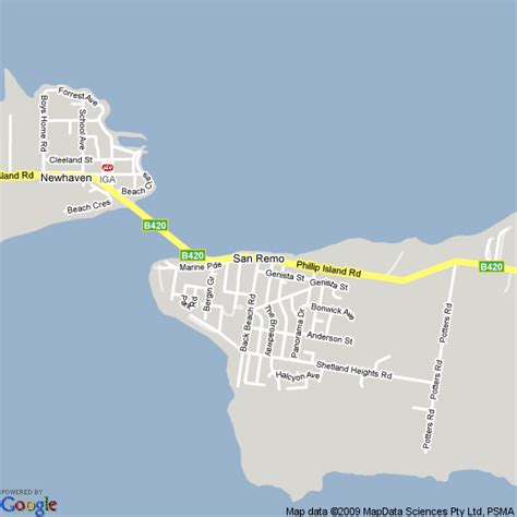 map  san remo victoria hotels accommodation