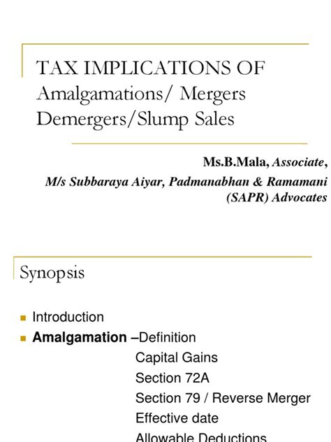 tax implications of amalgamations mergers demergers