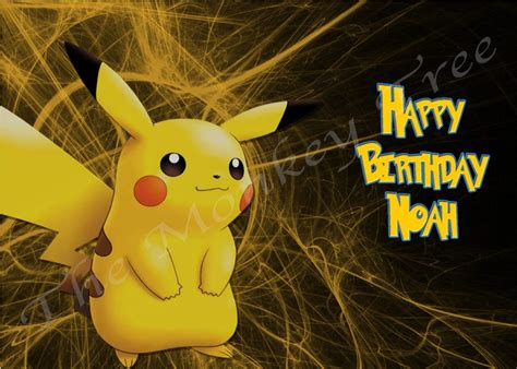 pokemon pikachu  personalised edible cake image  monkey tree