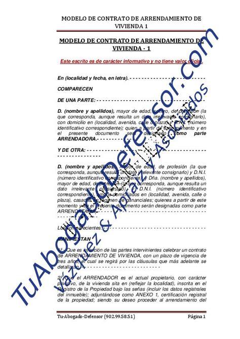 modelo de contrato de arrendamiento de vivienda modelo de contrato de arrendamiento de vivienda 1