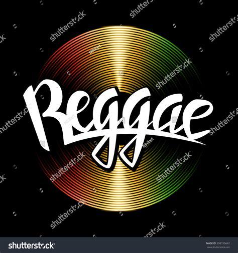 vinyl printing jamaica reggae lettering vector vinyl disc reggae stock vector