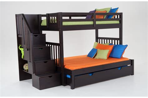 Trundle Bunk Bed With Storage Keystone Stairway Bunk Bed With Storage Trundle Unit Bob S Discount Furniture