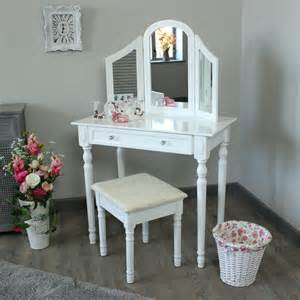 Makeup Vanity Set With Lighted Mirror White Bedroom Dressing Table Triple Mirror Amp Stool Set