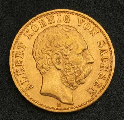 germany 10 mark gold coin, kingdom of saxony, 1896.